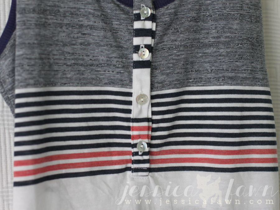 LA Made Mendoza Striped Henley Tank detail | JessicaFawn.com