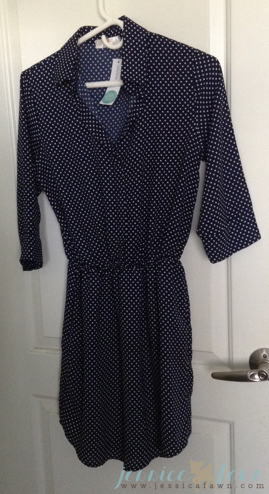Renee C Alexus 3/4 Sleeve Polka Dot Collared Shirt Dress | JessicaFawn.com
