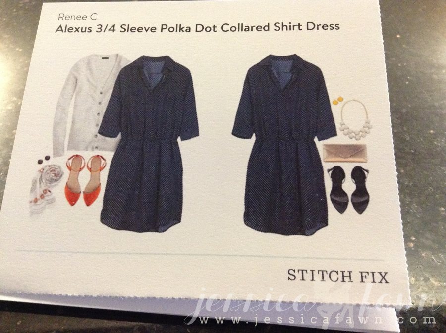 Renee C Alexus 3:4 Sleeve Polka Dot Collared Shirt Dress card | JessicaFawn.com