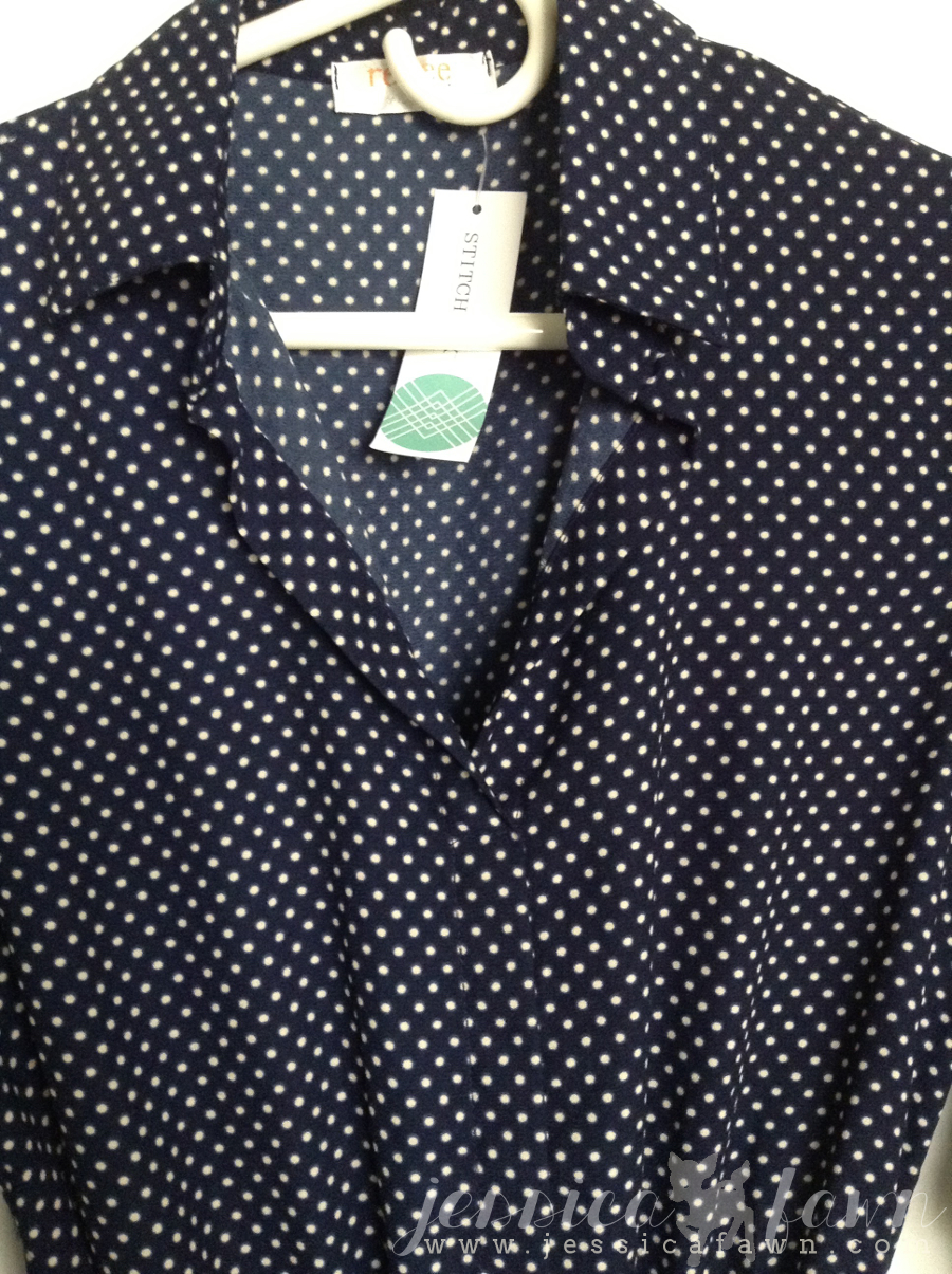 Renee C Alexus 3:4 Sleeve Polka Dot Collared Shirt Dress detail | JessicaFawn.com